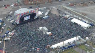 A view of the Belfast fanzone from the police helicopter during the Northern Ireland v Germany match on Tuesday