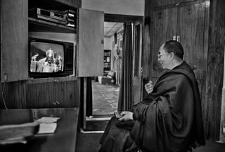 Dalai Lama watching the TV series, Mahabharata