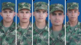 A picture released by the Colombian Army shows the five soldiers killed on Tuesday
