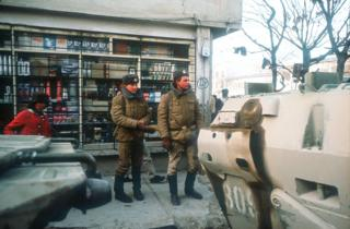 Soviet troops patrol the downtown area January 14, 1989 in Kabul, Afghanistan. The end of Soviet military occupation, which began in 1979, will leave the Afghan Army more vulnerable to the guerrilla forces known as the mujahideen, who claim to have the capital surrounded with 40,000 men
