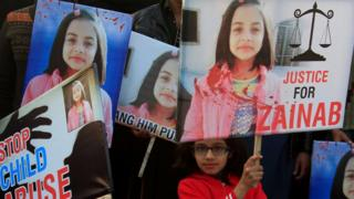 زینب کے قتل کے خلاف احتجاج