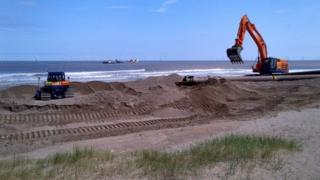 Site work taking place along the coast