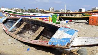 A traditional West African wooden fishermen's boat in Dakar, Senegal on July 2, 2015.