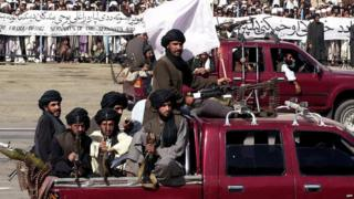 Taliban fighters on parade in Kabul (file photo)