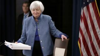Janet Yellen arrives for press conference