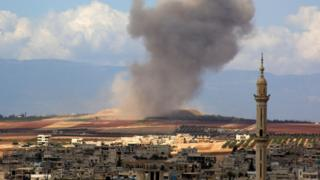 Smoke rises from Khan Sheikhoun area of Idlib province after reported air strike (7 September 2019)