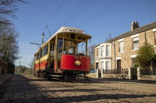 The 765 tram in Beamish's 1900s town