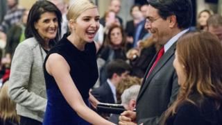 "Ivanka Trump greets patrons as the United States Ambassador to the United Nations Nikki Haley, left, looks on before the start of the Broadway debut of the musical ""Come From Away"" in New York, Wednesday, March 15, 2017."
