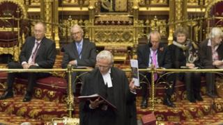 Norman Fowler, the Lord Speaker delivers the report to members in the Lords chamber