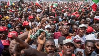 A crowd at a political rally in Nigeria