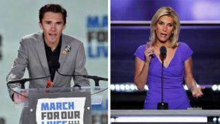 David Hogg (left) and Laura Ingraham