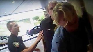 Nurse Alex Wubbels is shown during an incident at University of Utah Hospital in Salt Lake City, Utah, U.S., in this still photo taken from police body-worn camera video taken July 26, 2017