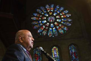 """Pravin Gordhan, the recently dismissed South African Minister of Finance, speaks at a memorial service for recently deceased anti-apartheid activist Ahmed Kathrada at St George""""s Cathedral in Cape Town on April 6"""
