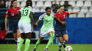 2019 Women's World Cup between Nigeria and Norway.