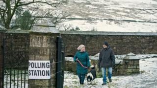 Snow at a polling station in Nenthead, Cumbria