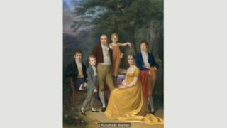Tranh chân dung gia đình của Carl Friedrich Demiani từ năm 1806 có vẻ thể hiện sự tự do với khi người ta cưới vì yêu nhau