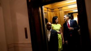 Wilson Roosevelt Jerman with Michelle and Barack Obama