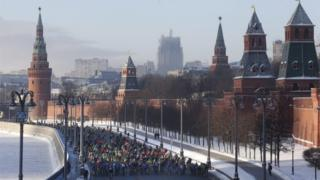 Mass cycling event in Moscow, 8 January 2017