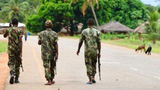 Soldiers patrolling in Mozambique