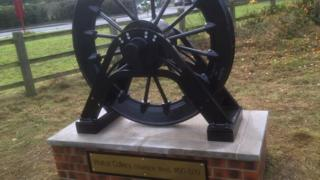 Walton Colliery memorial pit wheel