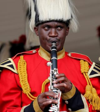 A member of Kenya's military band plays at the Embakasi Garrison near Nairobi, Kenya - Monday 26 September 2016