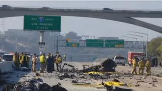 Video grab showing crash scene at Interstate 805 crash
