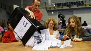 counting ballot papers in Glasgow