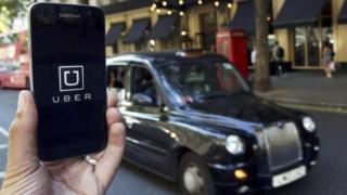 Uber app on mobile phone