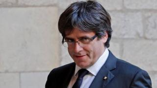 Carles Puigdemont at the regional government headquarters in Barcelona, Spain, 26 October 2017