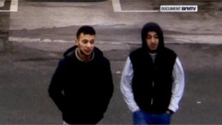 Paris shooting suspect, Salah Abdeslam, and suspected accomplice, Hamza Attou, are seen at a petrol station on a motorway between Paris and Brussels, in Trith-Saint-Leger,