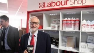 Jeremy Corbyn at end of the Labour conference stalls