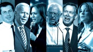 Buttigeig, Biden, Harris, Sanders, Hickenlooper and Williamson