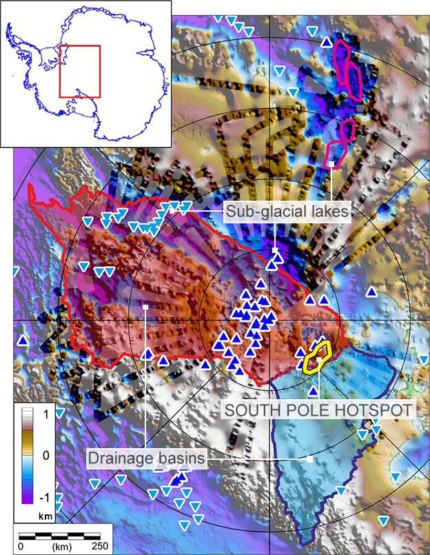 South Pole: Rock 'hotspot' causes ice sheet to sag