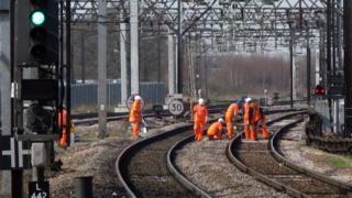 Maintenance work on rail track