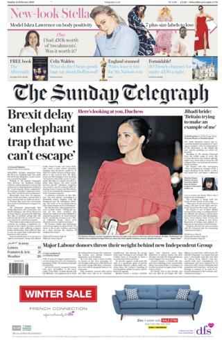 Sunday Telegraph front page - 23/02/19