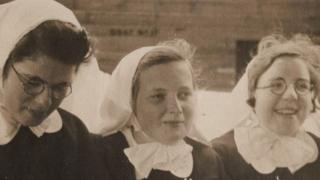 Elizabeth Cunningham (left) sailing to South Africa with two other postulant nuns in January 1940