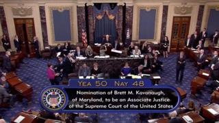 A still image taken from video of the final tally of votes by the U.S. Senate on the confirmation of Supreme Court nominee Judge Brett Kavanaugh, in Washington, U.S., October 6, 2018