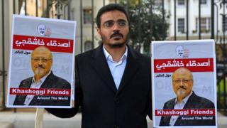 File photo showing a man protesting against the killing of Jamal Khashoggi outside the Saudi embassy in London (26 October 2018)
