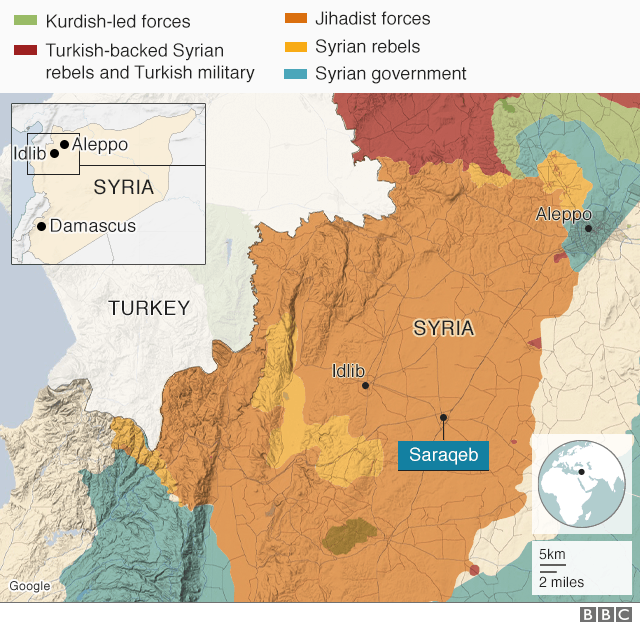 science Map of Syria showing Idlib and Saraqeb