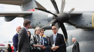 Prime Minister Theresa May at the Farnborough International Airshow