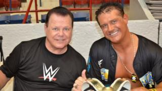 Jerry Lawler poses for a photograph with his son Brian