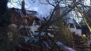 Thatched cottage fire in Elmswell, Suffolk