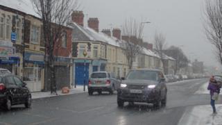 Car in snow in Cardiff