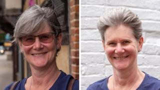 A before and after haircut portrait of Erica Young