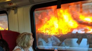 The fire through a train window