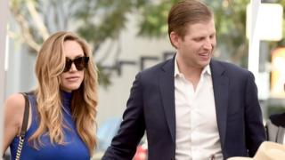 Eric Trump (R) and his wife Lara appear at the star dedication ceremony for radio personality Elvis Duran on the Hollywood Walk of Fame on March 2, 2017 in Los Angeles, California
