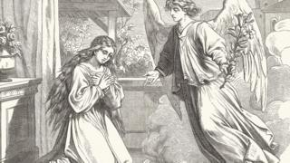 Illustration of an angel appearing to Mary