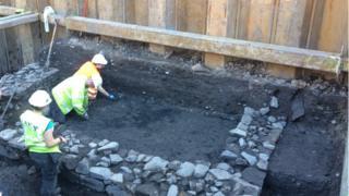 Excavation of 15th century stone building