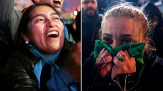 An anti-abortion and pro-choice campaigner react after a Senate vote in Argentina