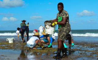 Brazil environment: Clean-up on beaches affected by oil spill